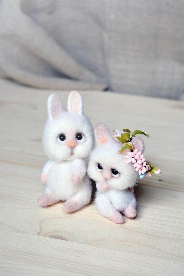 Семейка зайчиков из шерсти шерсть, войлок, рукоделие, валяние, валяниеизшерсти, заяц, длиннопост
