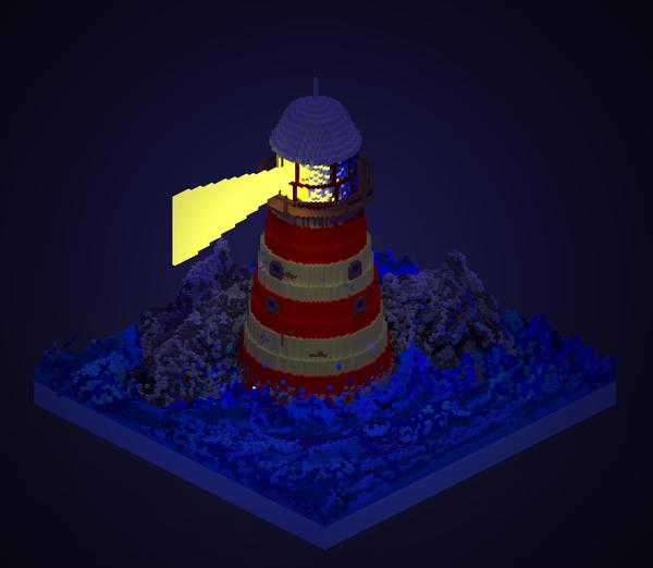 Ночной маяк в MagicaVoxel Voxelart, MagicaVoxel, Маяк, Lighthouse, Pixels, Длиннопост