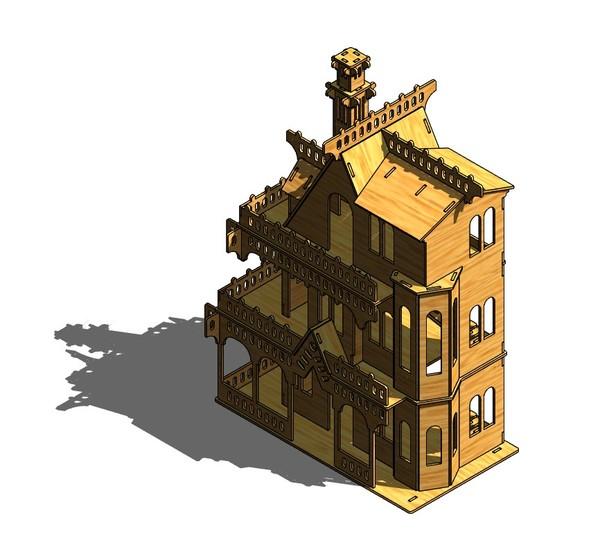 А я вот такой домик сделал для дочки фанера, сделай сам, ЧПУ, длиннопост
