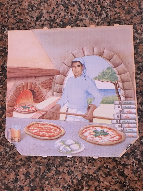 Необычная коробка для пиццы Джордж Клуни, Пицца, Знаменитости