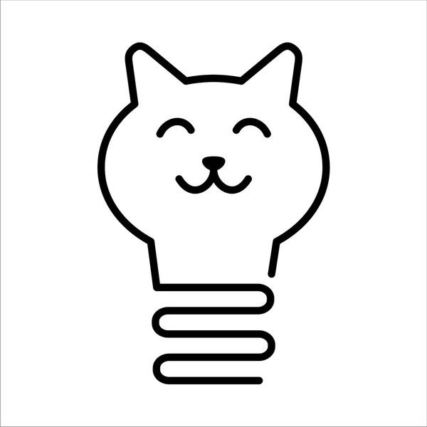 Котолампа Кот с лампой, Дизайн, Иконки, Кот, Лампочка