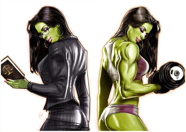 Double page spread J-Estacado, арт, крепкая девушка, She-Hulk, Marvel
