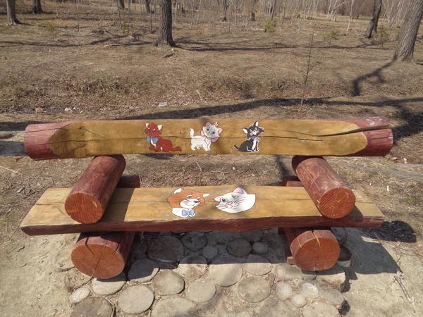 Скамья любителей кошек. Взрослый парк города Артёма кот, парк, Приморский край