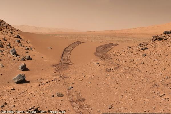 Следы Кьюриосити на марсианском песке curiosity, марс, космос