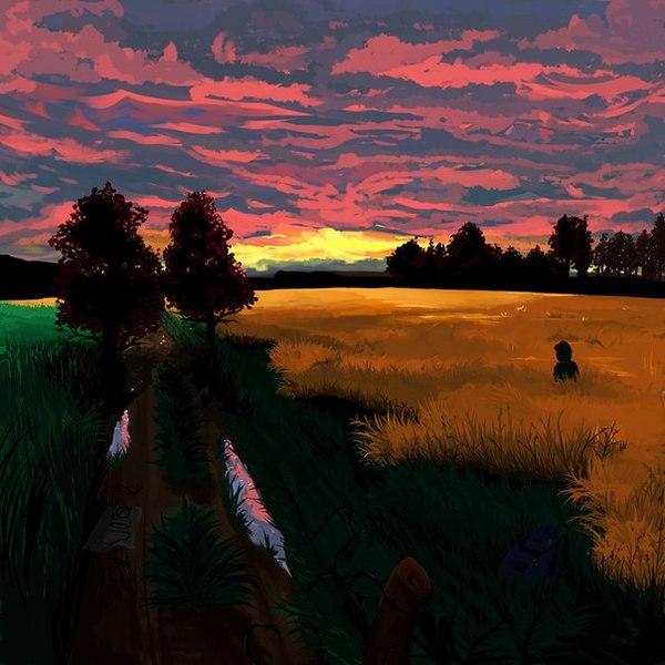 Мой закат. рисунок, закат, Природа