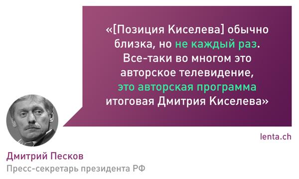Авторское телевидение Политика, Киселев, Песков