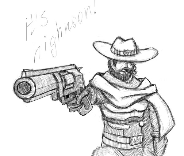 It's high noon! McCree, Маккри, overwatch, арт, скетч, быстроскетч, HIGH NOON