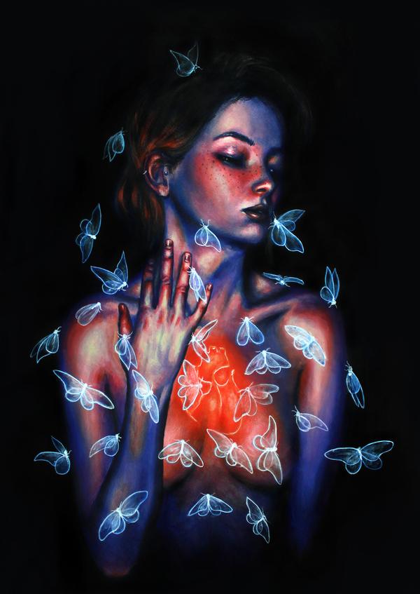 Thinking of you Художник, картина, творчество, рисунок, иллюстрации, бабочка, девушки, арт