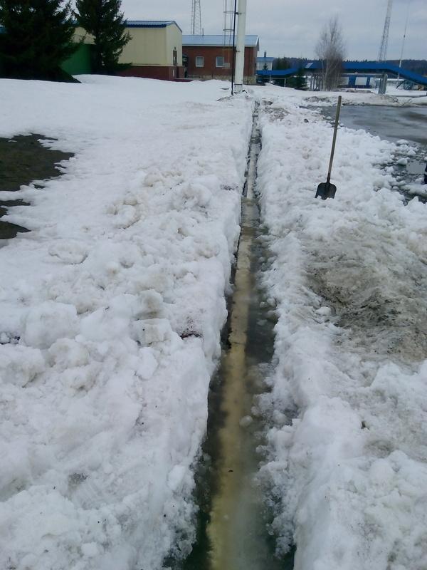 Когда на субботнике дали задание очистить снег с дороги до бордюров