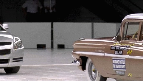 Краш тест 1959 Chevrolet Bel Air против 2009 Chevrolet Malibu Краш-Тест, Chevrolet, ДТП, Ретроавтомобиль, Безопасность, Гифка