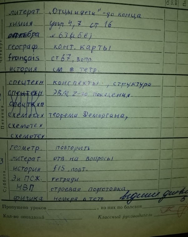 Мой школьный дневник за 9-ый класс схемотехника ЭВМ, школа, А ведь было время, дешифратор, шифратор, дневник, длиннопост