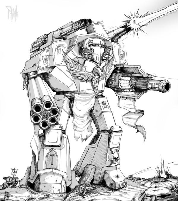 Warlord Titan Warhammer 40k, wh art, титан, фан-арт