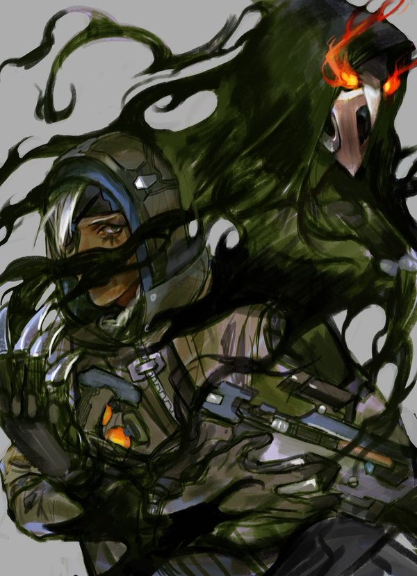 Работы от художника Muhe. overwatch, Ana Amari, скетч, Pharah, Reinhardt, reaper, длиннопост