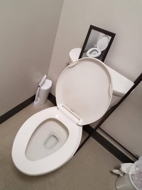 У моего друга в туалете есть фото в рамочке, где изображен этот же туалет