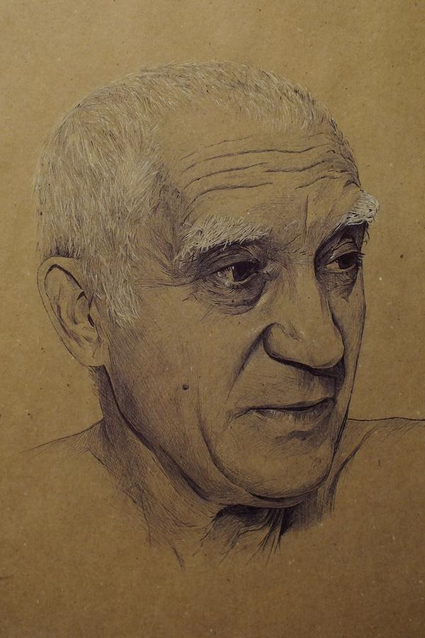 Портрет товарища пятничный тег моё, рисунок, портрет, шариковая ручка