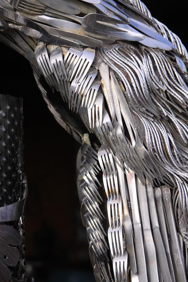 Павлин из старых столовых приборов Ремесло, Скульптура, Павлин, Птицы, Столовые приборы, Длиннопост