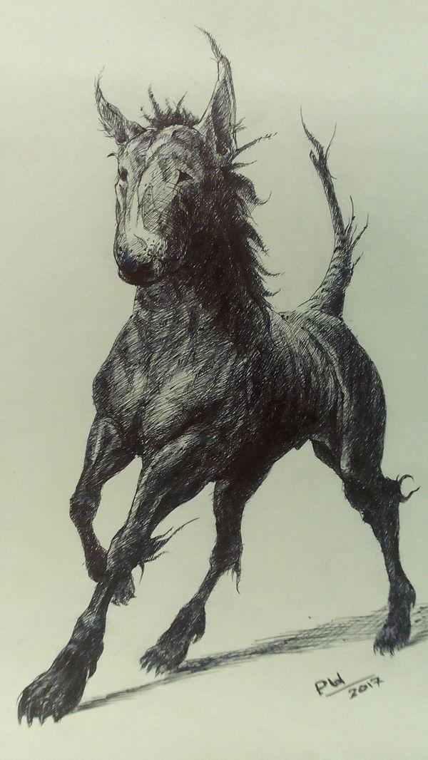 Гибрид (от лат. hibrida, hybrida — помесь) графика, рисунок ручкой, гибрид, млекопитающие, фантастика