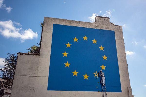 Последняя работа Banksy Европа, Бэнкси, Стрит-Арт, Арт, Brexit, Политика, Англия