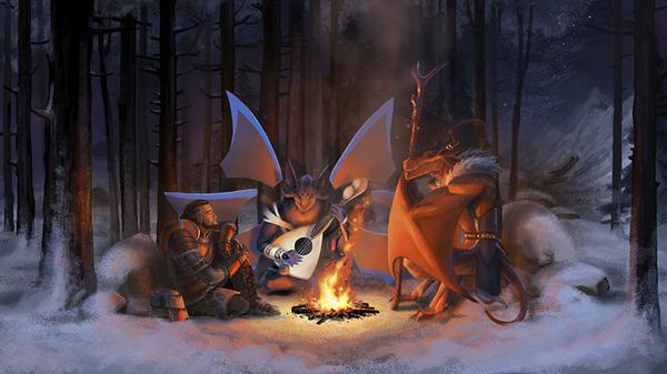 Зимний вечер у костра... Endless Legend, арт, дракон, оборотни, прыгуны