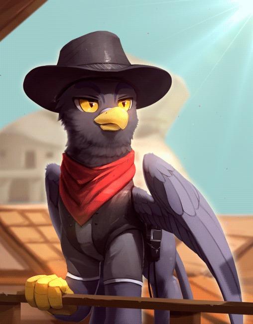 Теперь в этом городе новый шериф... или нет. my little pony, Original Character, грифон, гифка