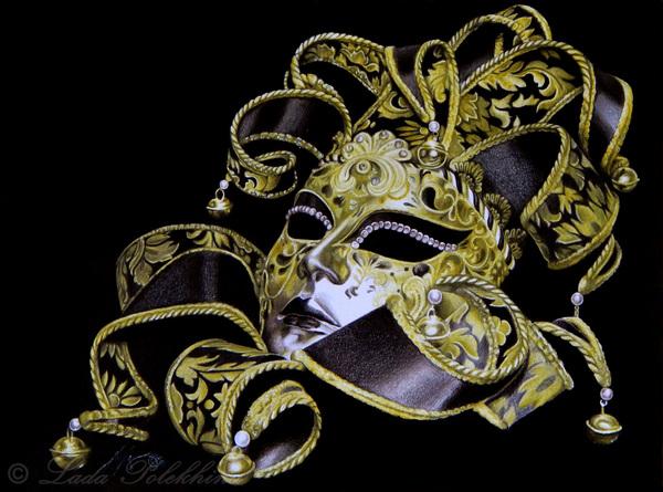 "Рисунок ""Венецианская маска"" моё, рисунок, карандаш, маска, венецианский карнавал"