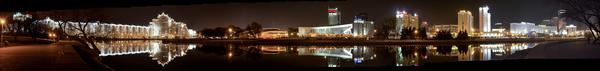 Ночной город Минск, Немига, Свислочь, Панорама, Ночной город
