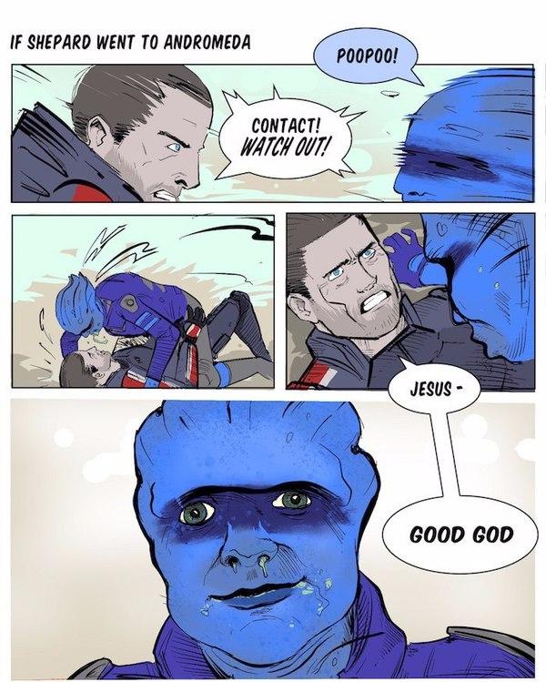 Если бы Шепард оказался в Андромеде Mass Effect, Гаррус, Шепард, ПиБи, Комиксы, Юмор, Длиннопост