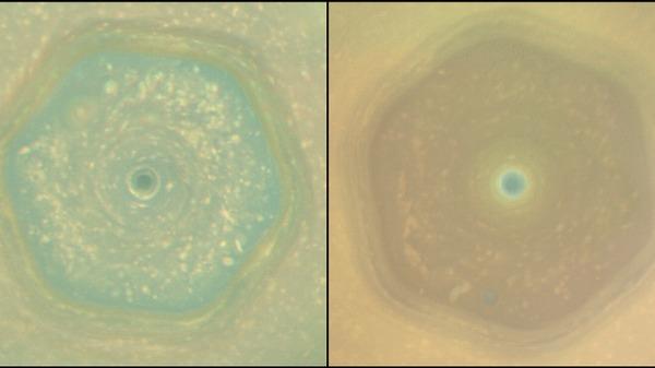 Кассини показал, как изменился цвет шторма на Сатурне за 4 года космос, Сатурн, гифка, Кассини