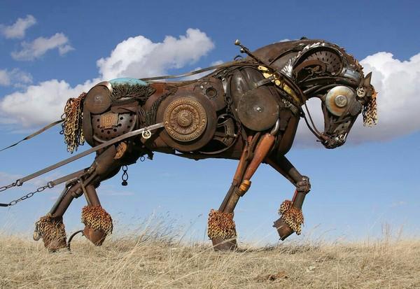 Металлические лошади Скульптура, Лошади, Умельцы, Длиннопост