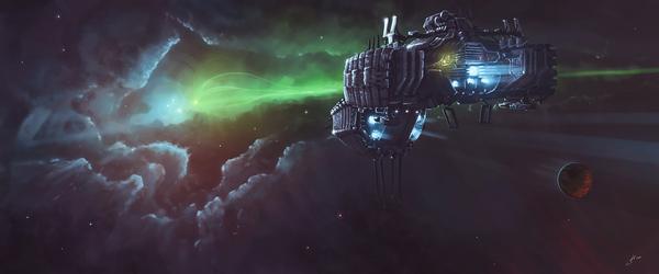 Per aspera ad astra. Видео, Космический корабль, иллюстрации, Sci-Fi, арт, цифровой рисунок, speed painting