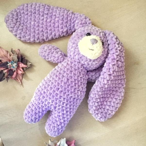 Зайка для дочки заяц, для малыша, вязание крючком, длиннопост, Дети