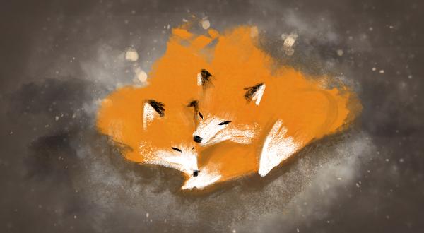 Fire foxes Лисички, Фыр, Скетч, Компьютерная графика