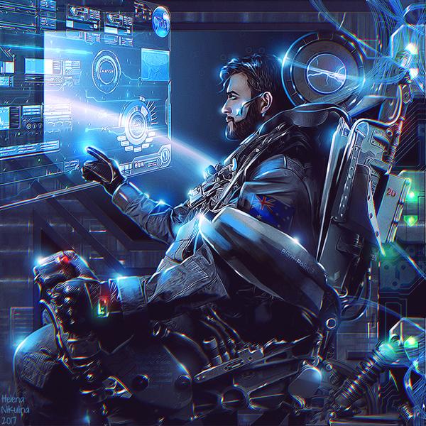The Pilot. арт, Елена Никулина, Sci-Fi, Космический корабль, пилот