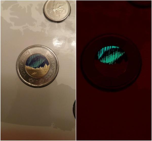 Новые канадские 2 доллара светятся в темноте