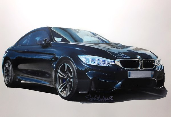 BMW M4 Coupe (F82) Формат листа: А3 Рисовал маркерами и карандашами.