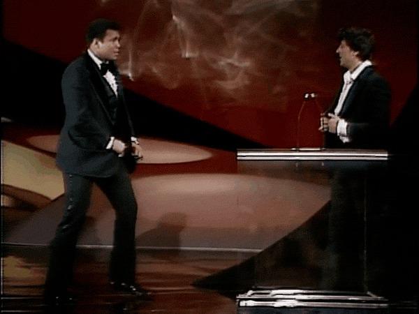 Мухаммед Али и Сильвестр Сталлоне на вручении премии Оскар, 1977 год