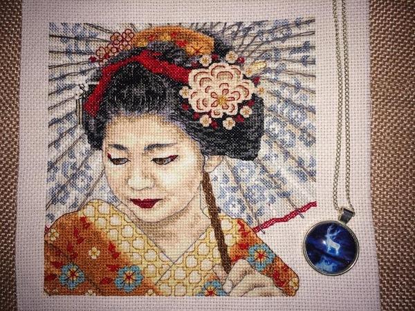 Вышивка. Японка. вышивка, вышивка крестом, картина, японка, рукоделие
