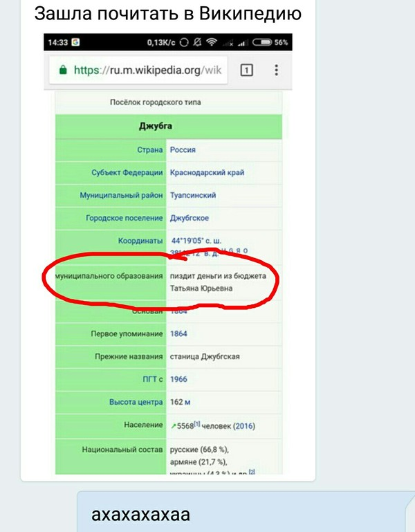 Википедия не врёт. Скриншот, Википедия, Джубга, Бюджет