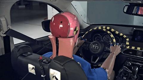 Как срабатывают шторки безопасности. Краш-Тест, Подушка безопасности, Авто, Макияж, Mazda cx-9, Mazda, Гифка