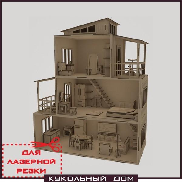 Чертеж кукольного домика с мебелью - вырежи и собери! Дом для кукол своими руками. векторные макеты, Дом для кукол, чертеж кукольного дома, для лазерной резки, кукольный дом с мебелью, длиннопост