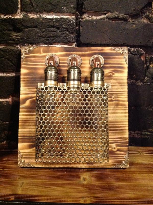 """Стимпанк-светильник, простой но """"симпотишный"""". стимпанк, своими руками, handmade, И чтец и жнец и на дуде игре, рукоделие с процессом, длиннопост"""