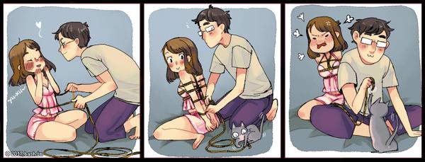 Правильно расставленные приоритеты. :3 Комиксы, bash im, Lin, кот, сибари