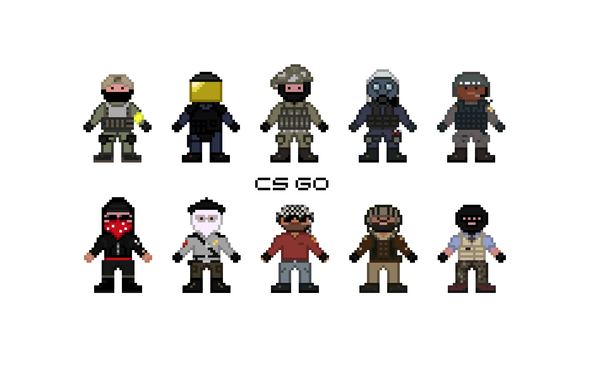 Пиксельные персонажи CS:GO Pixel art, Cs:go, Counter-Strike, Terrorist tappers, Test on cs:go rank, Тест на ранг cs:go, Ранг cs:go, Длиннопост