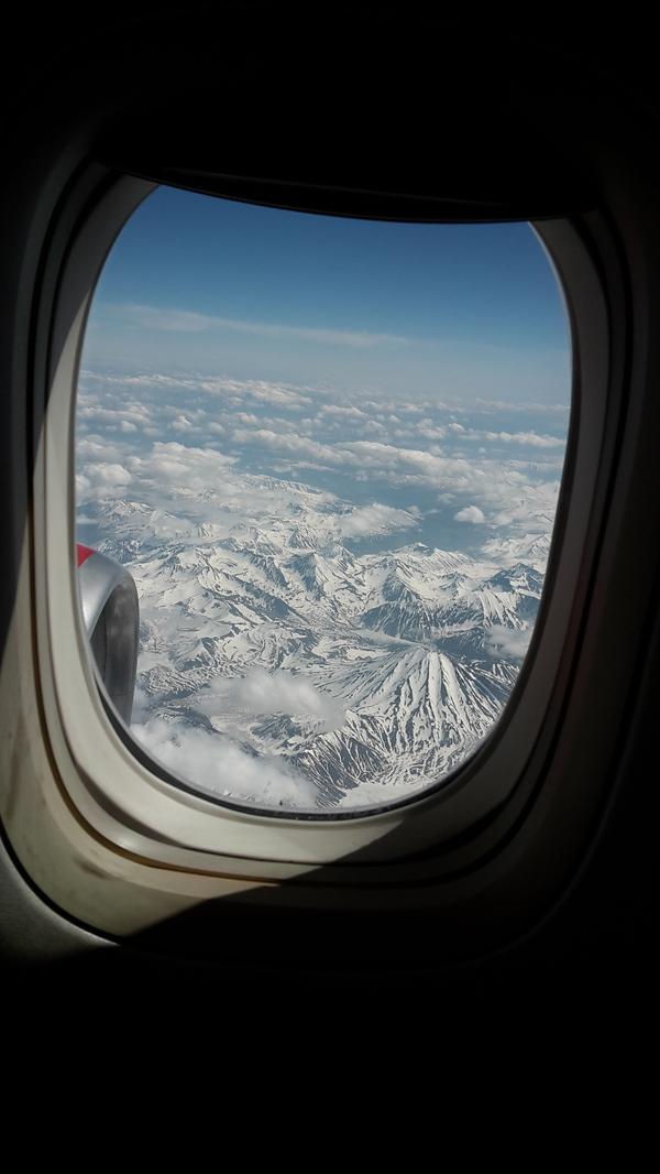 Под крылом самолета Вид из самолёта, Вулкан, Камчатка, Фотография, Моё, Длиннопост