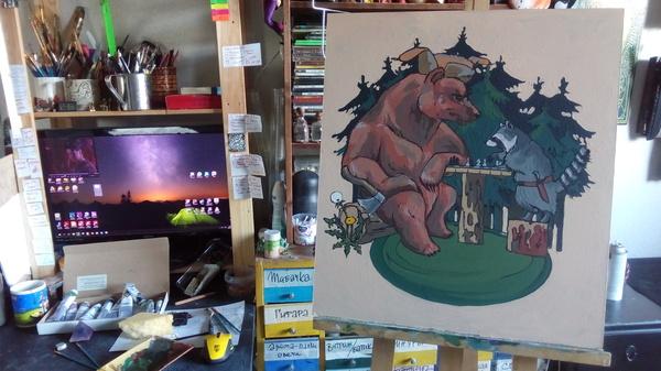 Енот и медведь Кай Йара, енот и медведь, Шахматы, темпера, Живопись, творчество