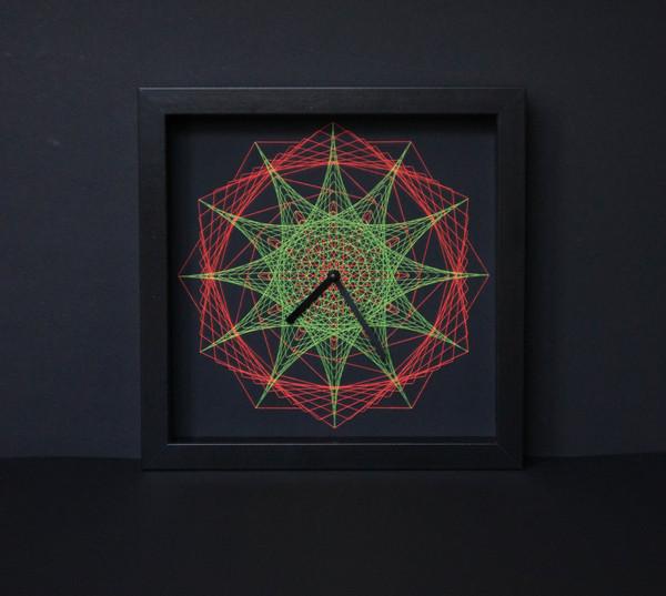 Часы в технике String Art Моё, Часы, Ручная работа, String art, Handmade, Рукоделие без процесса, Флуоресценция, Ультрафиолет, Длиннопост