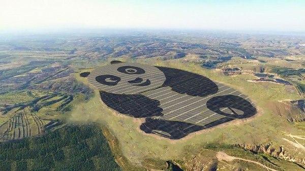 В Китае построили солнечную электростанцию в виде ОГРОМНОЙ УЛЫБАЮЩЕЙСЯ Панды Китай, панда, технологии