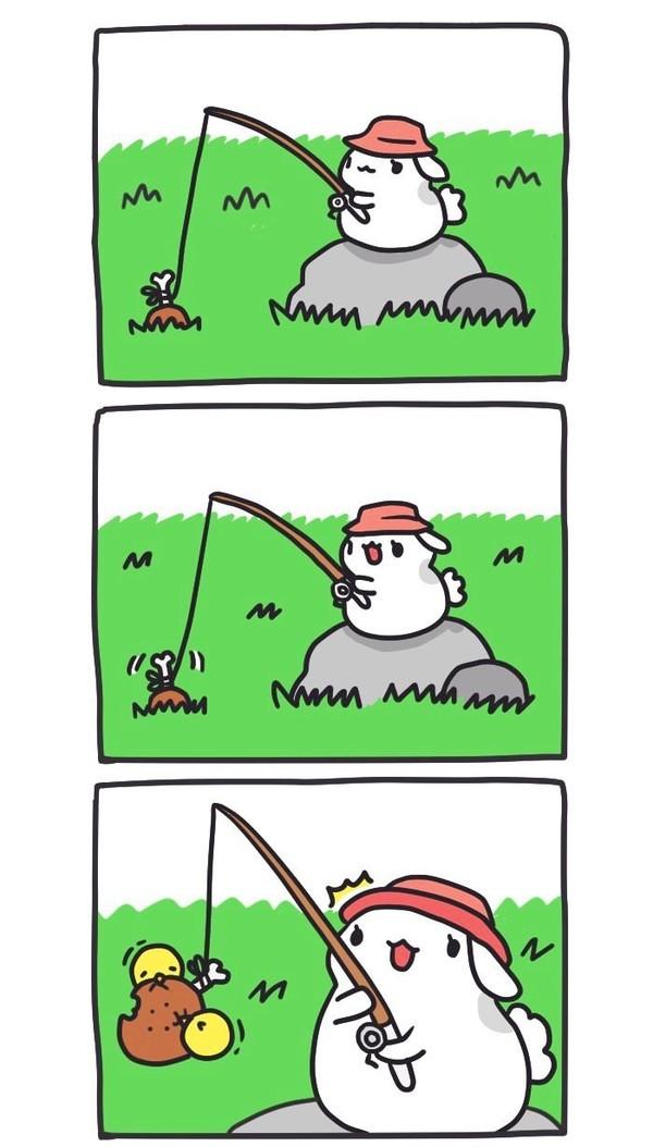 Поймала! BugCat-Capoo, бракованный кот, кот, Комиксы, рыбалка, улов, наживка, длиннопост