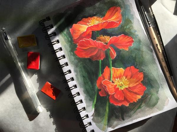 Пятничное мое- скетч акварелью акварель, скетч, рисование, Видео, ярисую, быстро, цветы