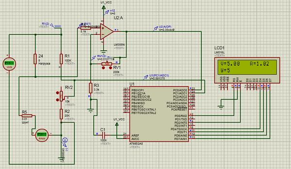 Вольтамперметр вватметр на AtMega8 24В 10А. Исходники. Atmega, Вольт-Амперметр, Proteus